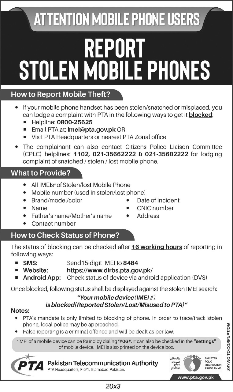 PTA Reveals Guidelines to Easily Report & Block Misplaced and Stolen Phones