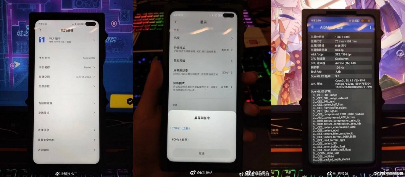 Redmi K30 Live Images Leaked Confirming 120Hz Display