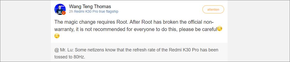 Devs Find a Way to Boost Redmi K30 Pro's Refresh Rate to 80 Hz
