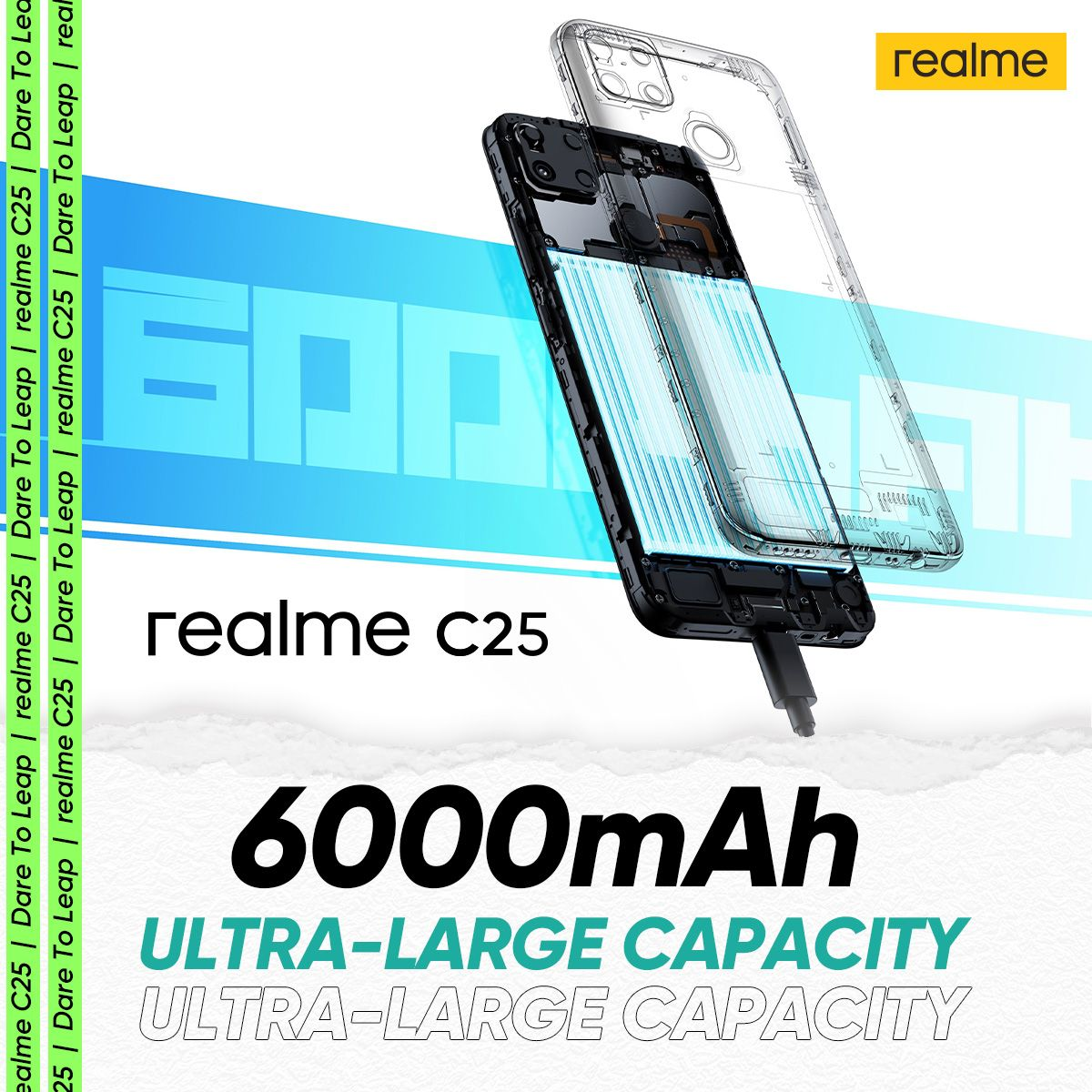Stay connected all day with the new realme C25, power-packed 6,000mAh battery