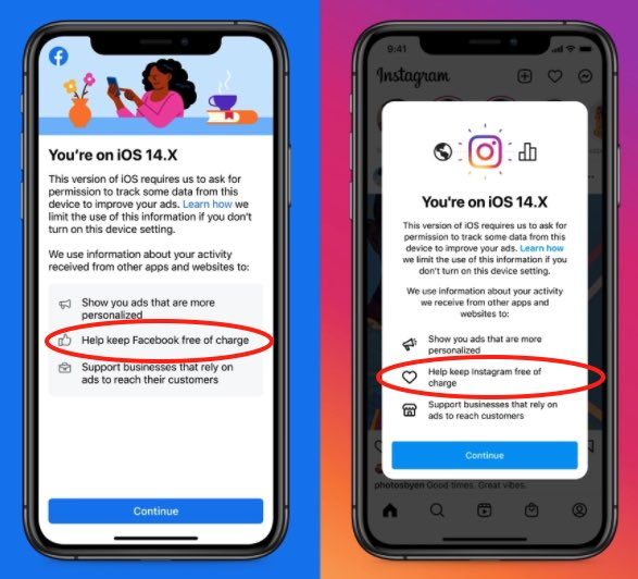 Facebook and Instagram notices in iOS apps tell users tracking helps keep them 'free of charge'