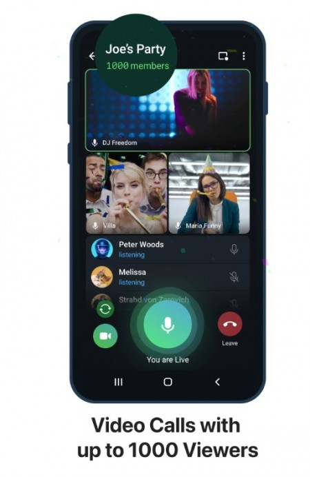 Telegram Adds Video Calls for 1000 Users, Screen Share With Sound, and More