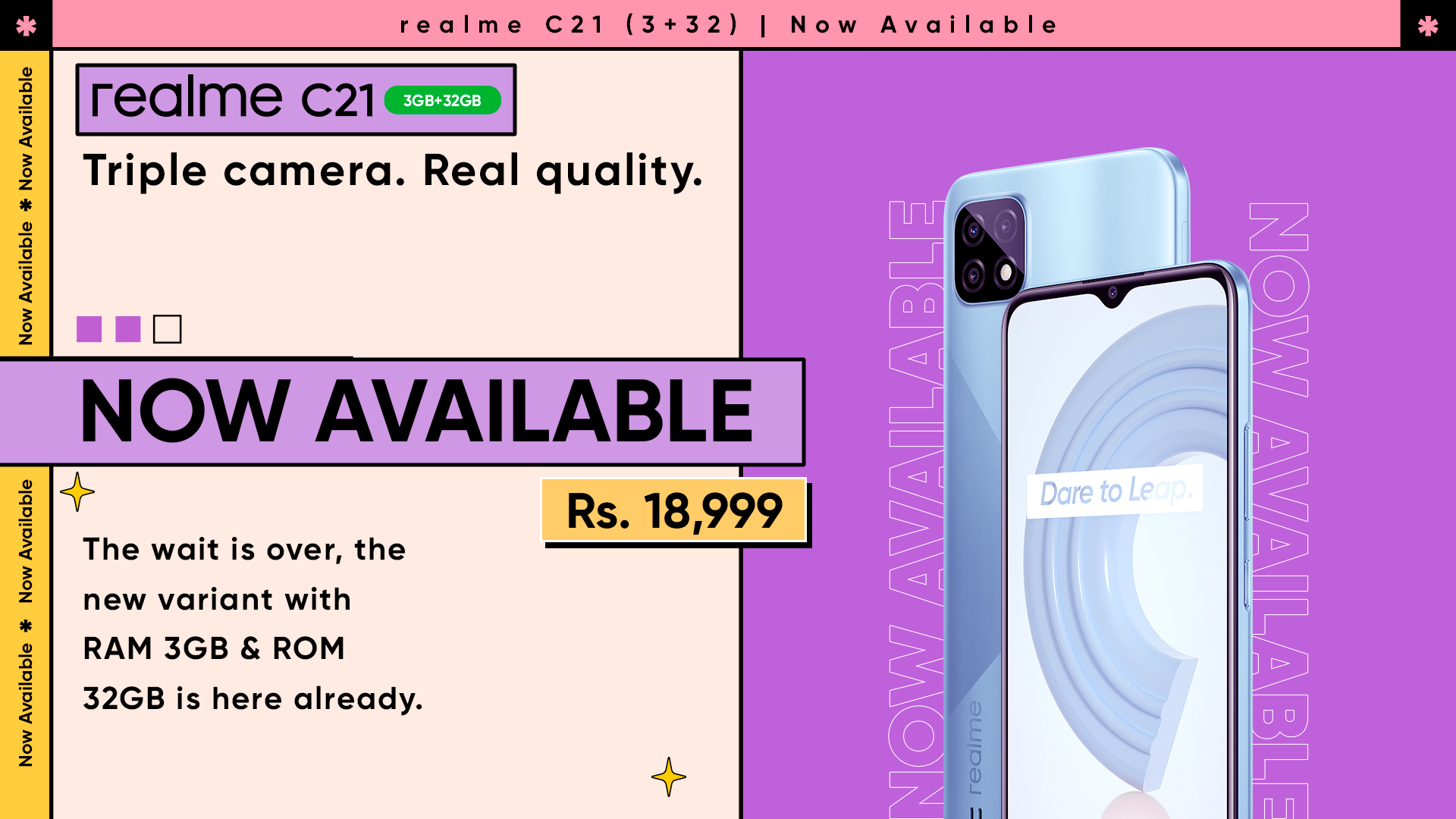 realme C21 Becomes the Ultimate Entry-level Quality King with its New 3GB + 32GB Variant